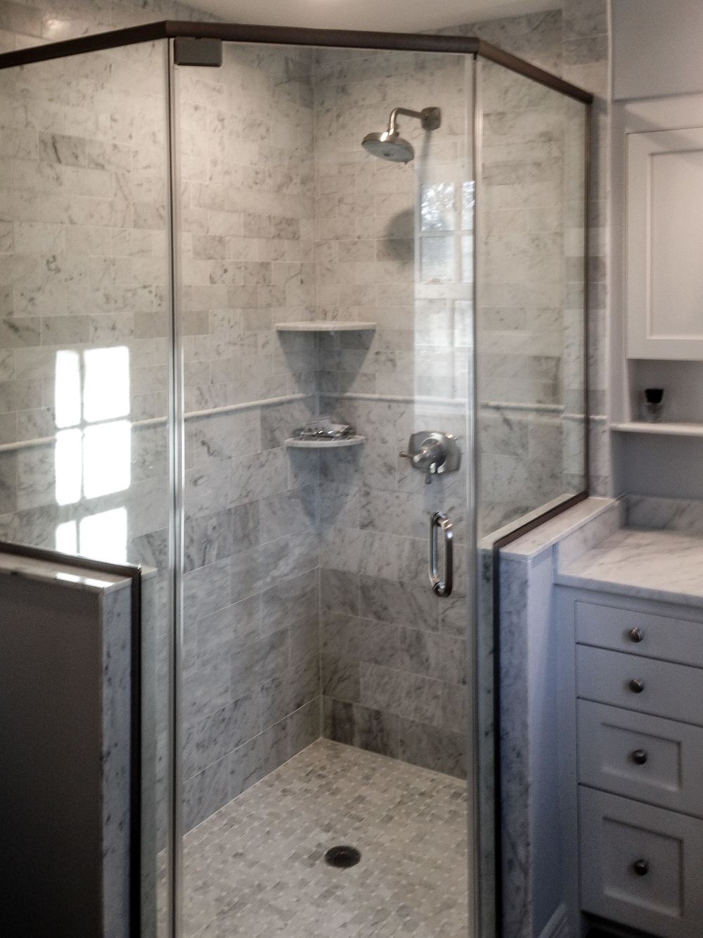 Custom Bathroom Vanity with Built-In Shower