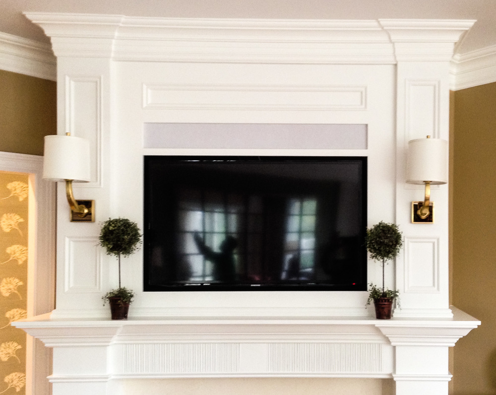 Custom Built-In Fireplace Surround with TV & Lighting - Detail