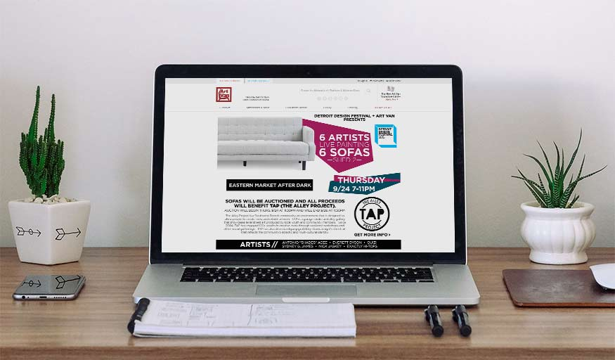 Landing page for Detroit Design Festival and Art Van collaboration.