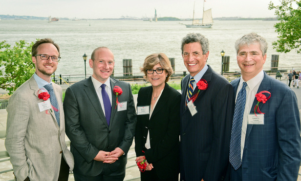 From L-R: Federal Bar Council First Decade Committee Chair Travis Mock; David B. Shanies; Willkie Farr & Gallagher partner and co-recipient of the Marshall Award Mary Eaton; Federal Bar Council President David Schaefer; and Federal Bar Council Public Service Committee Chair Lewis Liman. (NYLJ/David Handschuh)