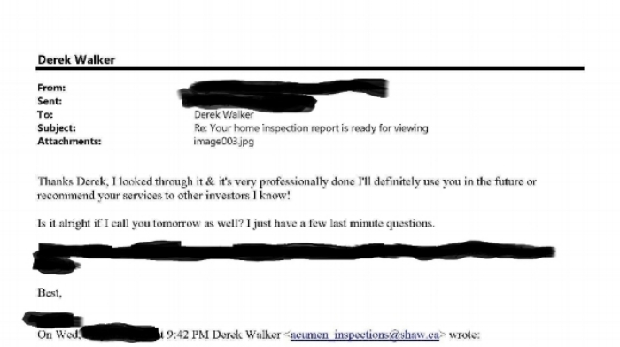 This email is from a client who wasn't using a realtor to purchase a home and so I was the only professional (other than lawyers) to assist in the purchase. If you're buying a home without the use of a realtor make sure you perform due diligence, including hiring a qualified and thorough home inspector.
