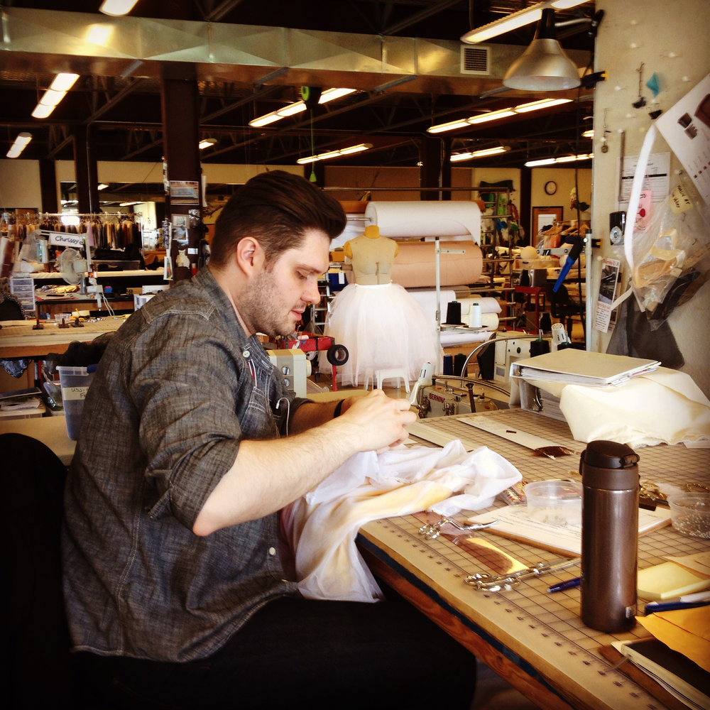 Jason Bray at the Michael Curry Design costume shop