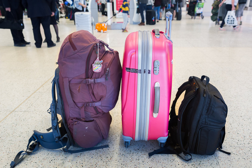 Checking-in at Melbourne Airport — everything I own fits in these bags