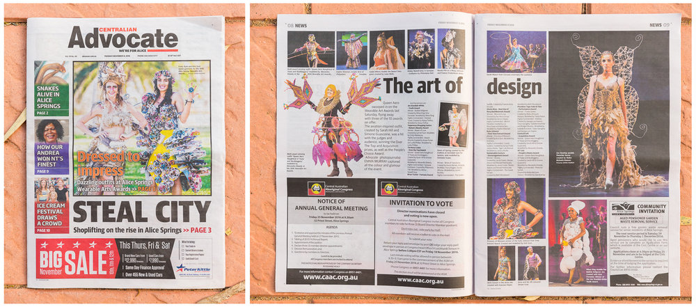 My images from the Alice Springs Wearable Art Awards published in the Centralian Advocate