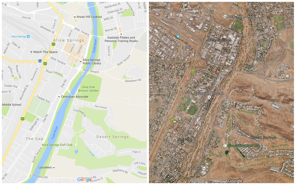 Google Maps vs Google satellite view of the Todd River