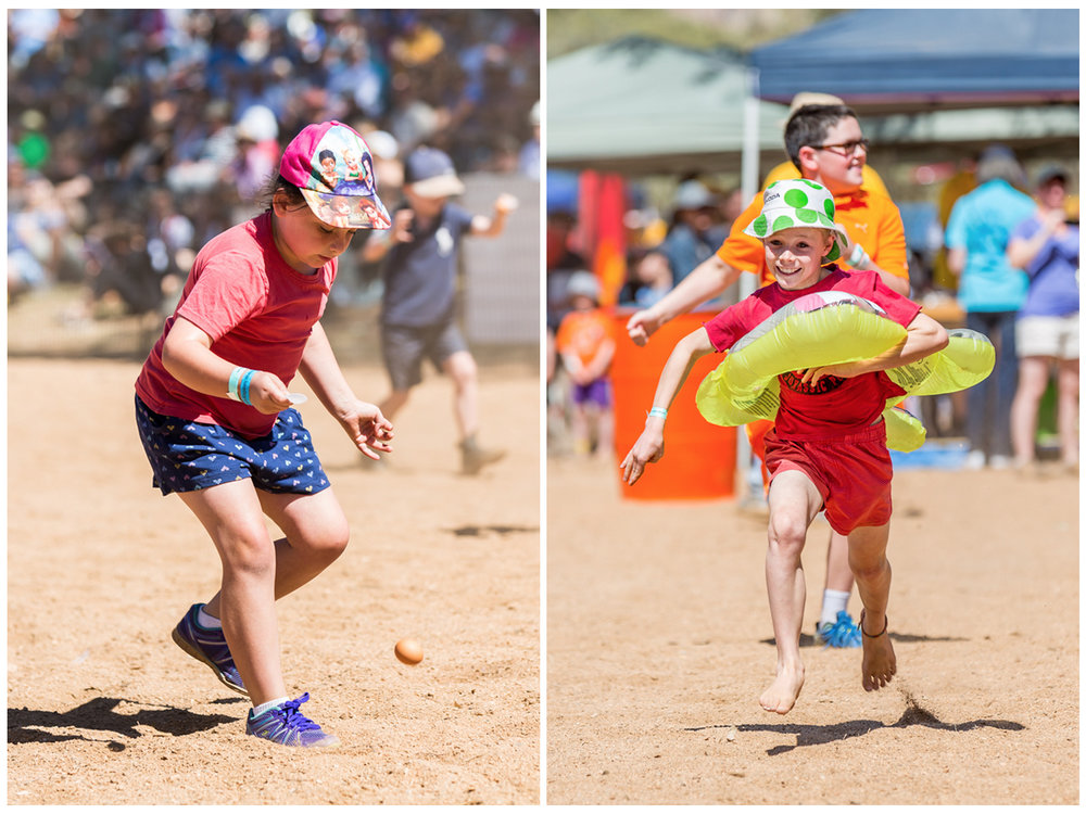 The kids were kept entertained the with egg and spoon race, and the rubber ducky sprint