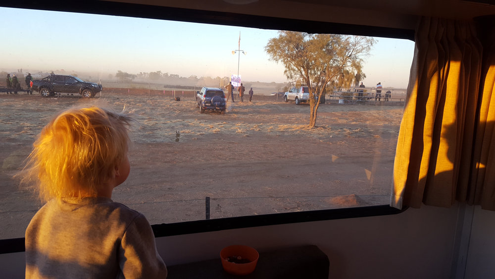 Akubra man's daughter inside the campervan looking at the Finke track. I took my photo to the right of this one.