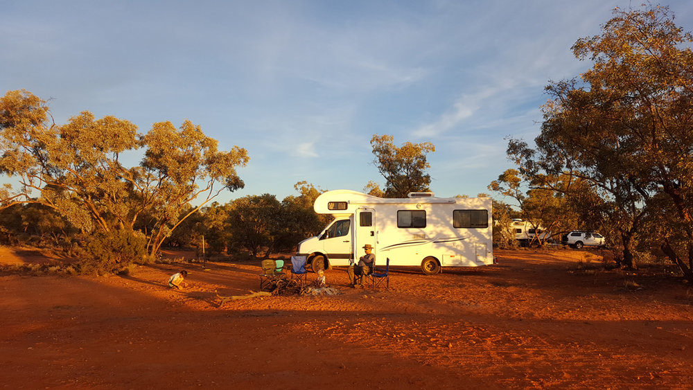 Akubra man sitting outside his motorhome in the beautiful outback. All photos have been shared with permission from the family.