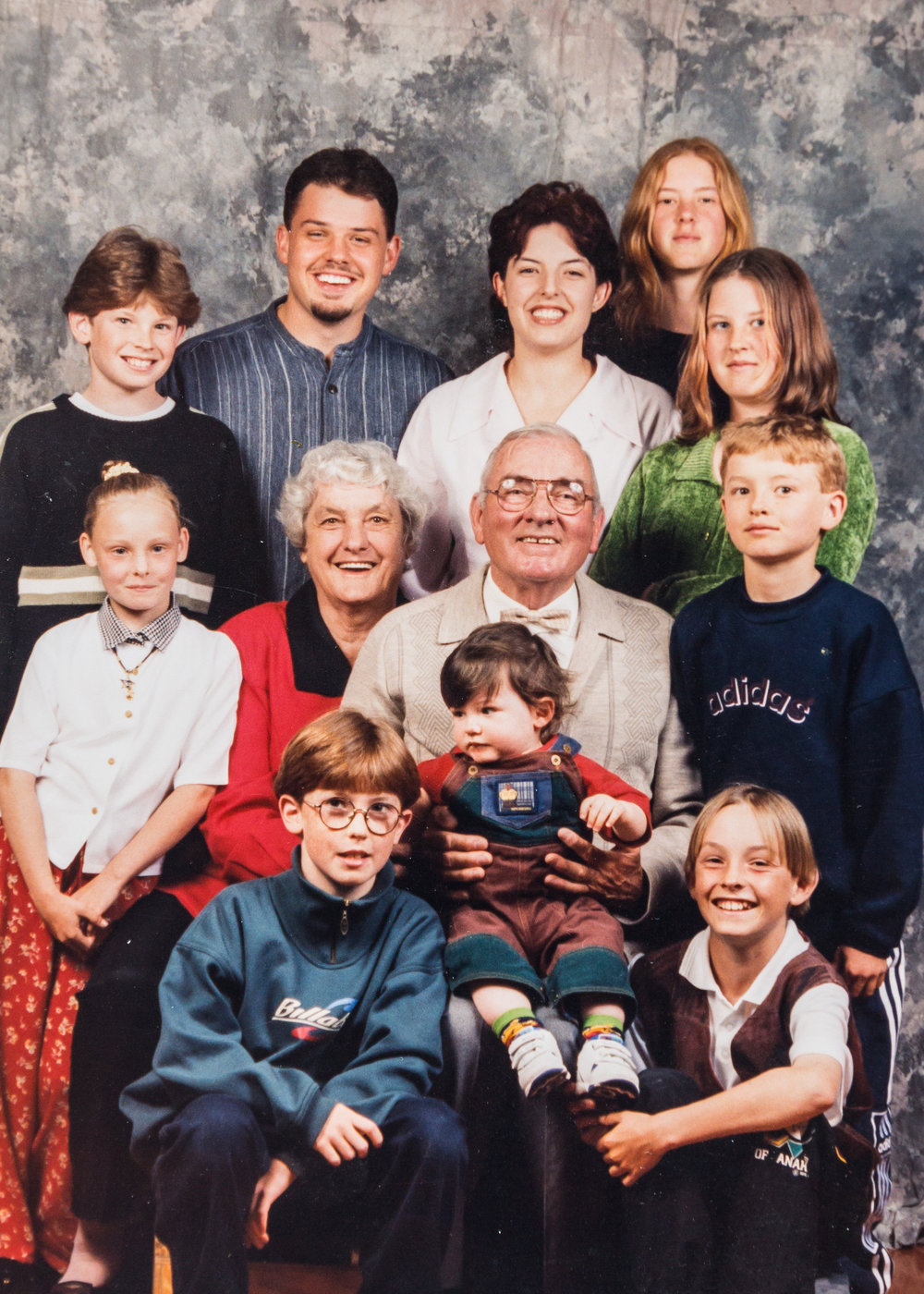 Ted and Tessie with some of their grandchildren in 1995