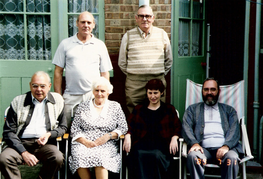 Ted with his immediate family in England for his mother's 80th birthday in 1989