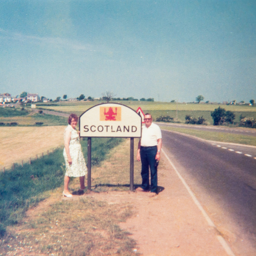 Ted and Tess in Scotland on their big trip in 1987