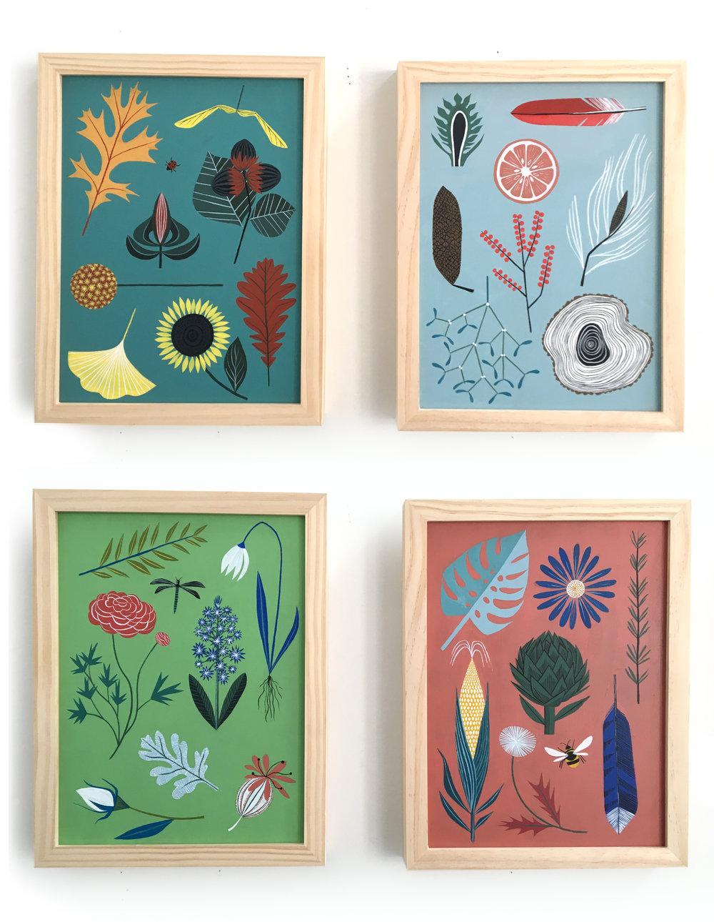 Four Seasons - Acrylic botanical paintings on 9 x 12