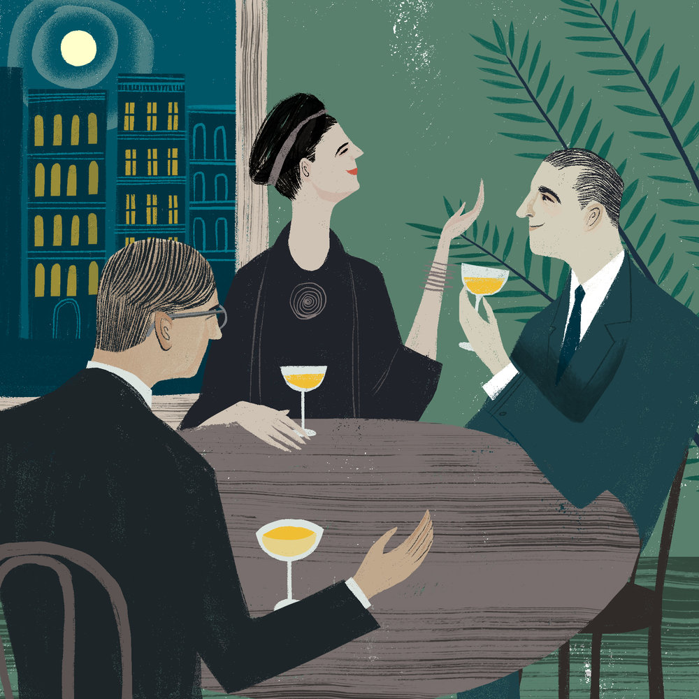"Illustration for a review of ""At the Existentialist Cafe"" showing Raymond Aron, Simone de Beauvoir, and Jean-Paul Sartre at a Parisian cafe. 2016."
