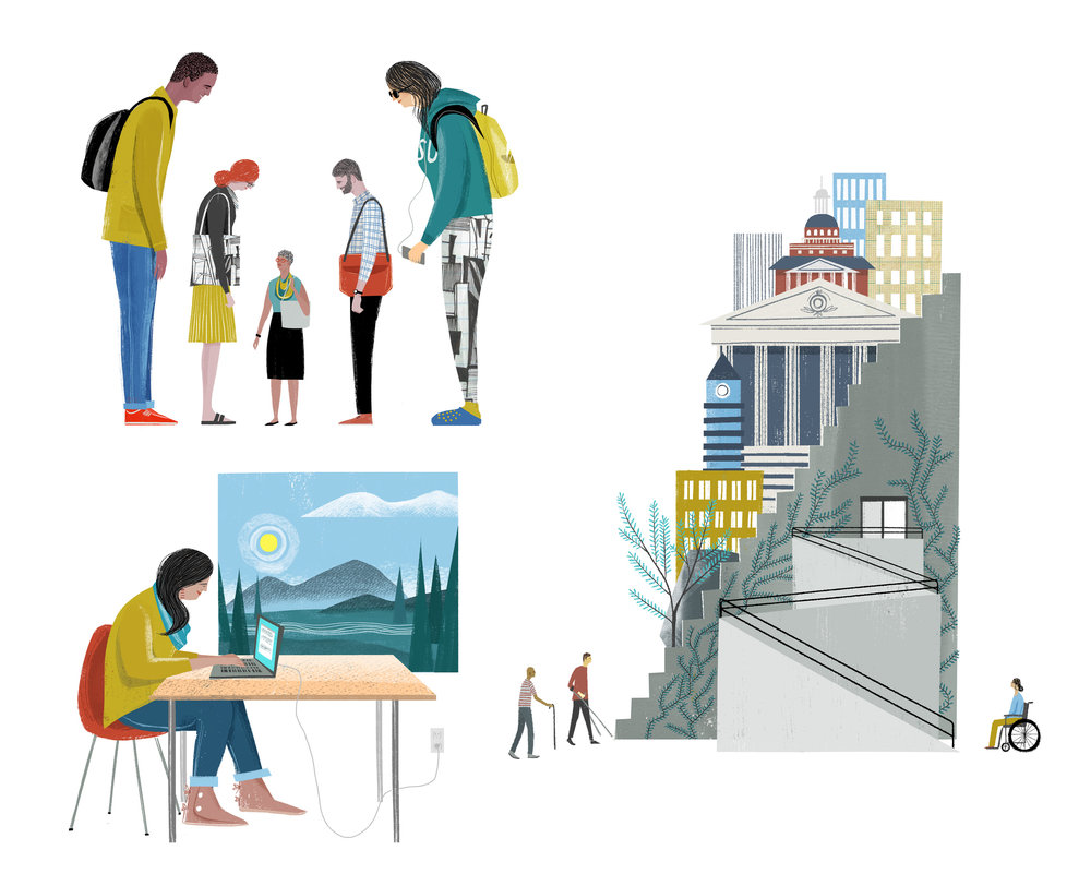 Spot illustrations for the Chronicle's Diversity in Academe supplement for essays on ageism, tribal colleges, and accessibility on campus. 2017.