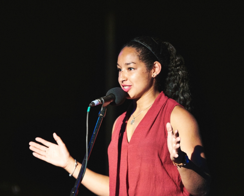 Cylita Guy tells her story at Tranzac in Toronto in September 2017.