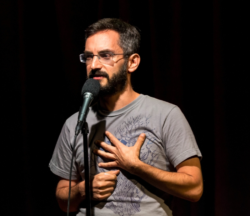 Myq Kaplan tells his story at Caveat in New York in September 2017.