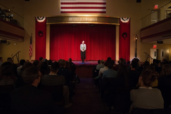 Kim Cobb shares her story at BB's Stage Door Canteen at the World War II Museum in New Orleans. Photo by Finn Turnbull.