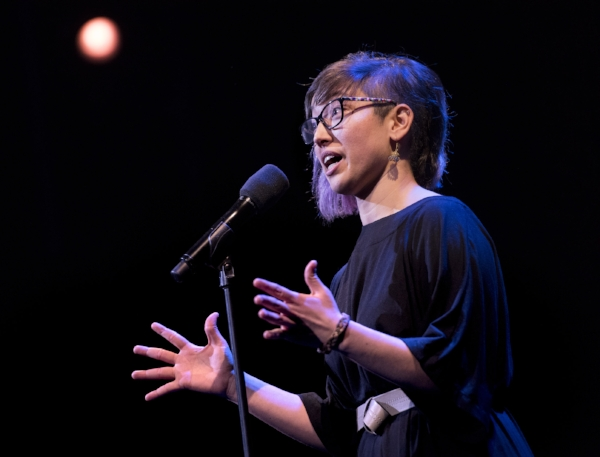 Moni Avello shares her story at the Oberon Theater in Cambridge, Mass., in January 2018. Photo by Kate Flock.