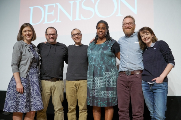 The cast of our Denison University show with Story Collider artistic director Erin Barker. Photo by Timothy E. Black.