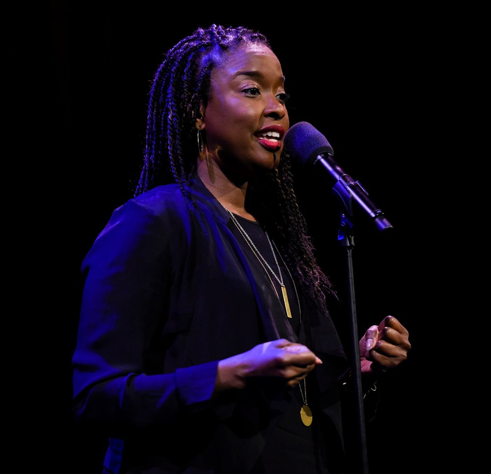 Monica O'Neal shares her story at the Oberon Theatre in Cambridge, MA. Photo by Kate Flock.