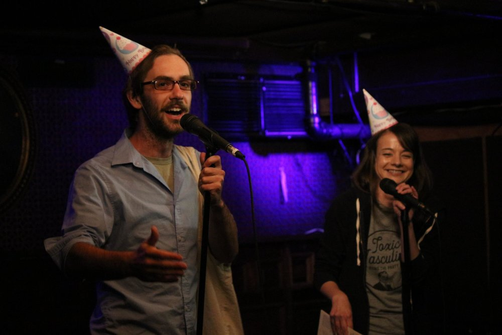 As a producer in 2016, Nisse hosted our sixth anniversary show at Union Hall with artistic director Erin Barker. Festive hats were involved.