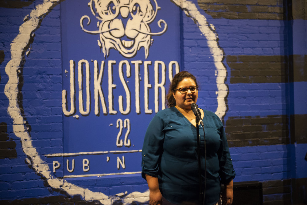 Guizella Rocabado shares her story at our show in conjunction with SACNAS 2018. Photo by Lisa Helfert.