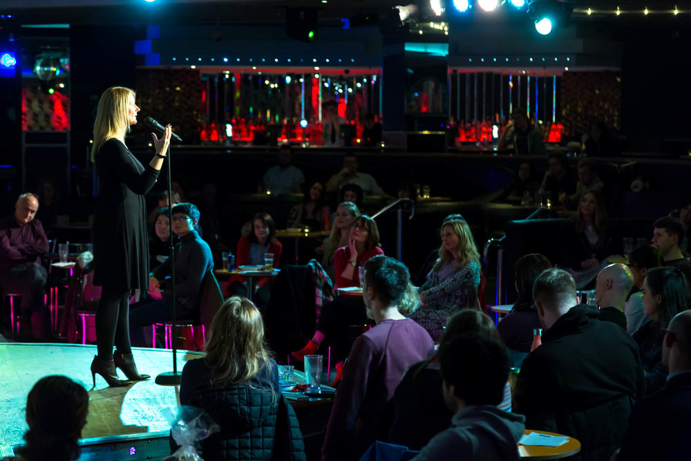 Sheena Cruickshank shares her story at The Birdcage in Manchester in Story Collider's show presented in collaboration with the University of Manchester in December 2018. Photo by James White.