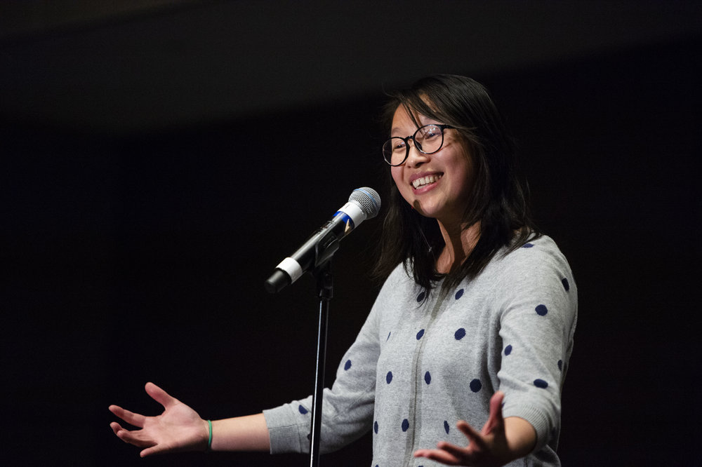 Kitty Yang shares her story with us at our show down in partnership with the American Mathematical Society (AMS) in January 2019. Photo by Lisa Helfert.