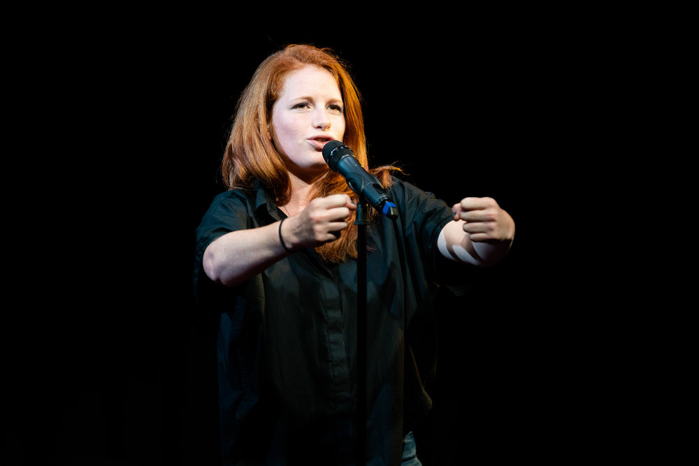 Beryl Kahn shares her story with the Story Collider audience at Caveat in New York City in November 2018. Photo by Zhen Qin.