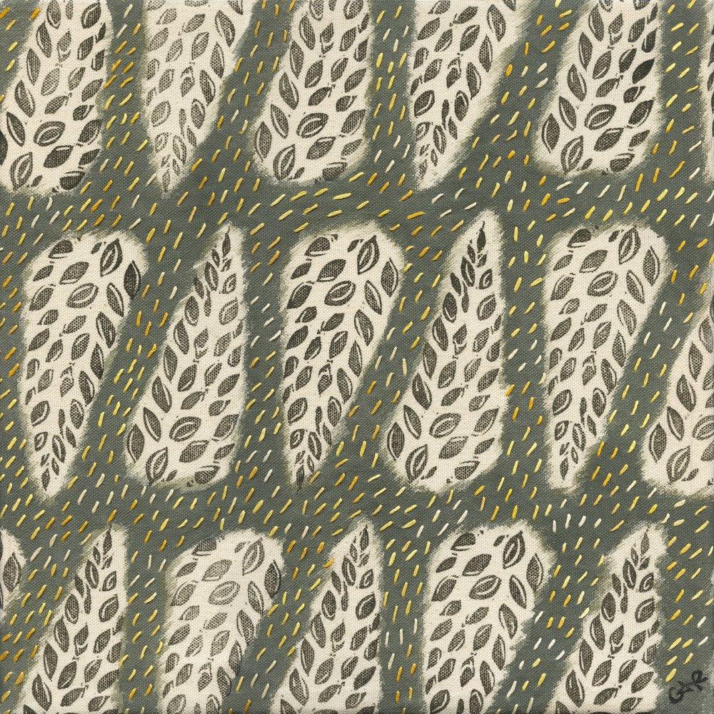 To Adorn, 2017: acrylic, blockprint & embroidery on canvas