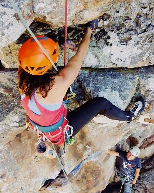 Claire crushing Jacob's Ladder, pitch 3. Miss climbin with this lady!