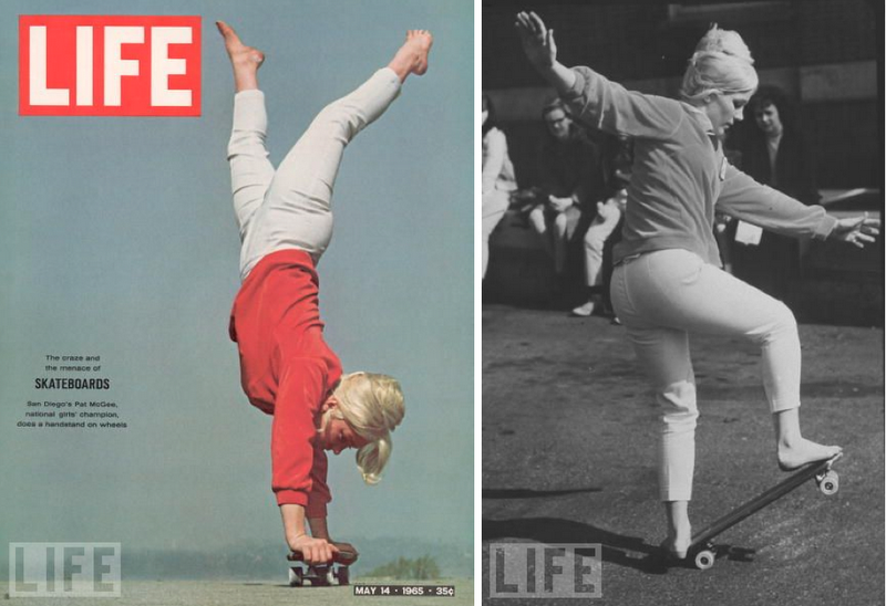 Got a Girl Crush On: 60s Skateboarder Patti McGee Patti was the 1965 Woman's first National Skateboard Champion, as well as the first female pro skateboarder (sponsored by Hobie) at the tender age of only 19! Check her demonstrating tricks on the Mike Douglas show: (more via classic forever)