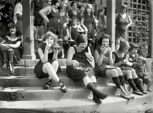 """Got A Girl Crush On: These Pizza-Loving """"Suffragettes""""    We have far too much love for this photo/caption to ruin it with a little fact-checking. Thank you, brave women, for paving the way for what is (quite literally) every weekend of our lives.      """"In 1921, early suffragettes often donned a bathing suit and ate pizza in large groups to annoy men…it was a custom at the time""""      (via Cult of Aphrodite Vintaga :   rookiemag  :  fat-grrrl-activism  )"""