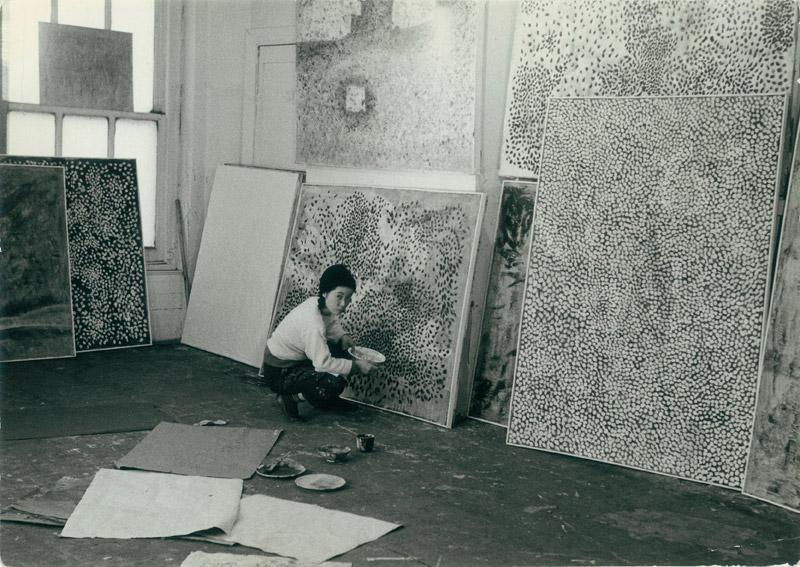 Japanese artist  Yayoi Kusama  in her studio, 1958