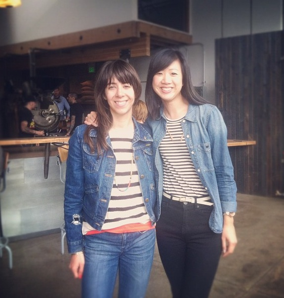 Got a Girl Crush On: My West-Coast Taste Twin    I (Meg) was in San Fran for a whopping 24 hours before roadtrippin' down Highway 1 to LA for the week, but snagged some quick girl-time with Andrea at Sightglass coffee in SoMa for a mini girl-crush reunion!    Of course we showed up basically wearing the same outfit–but that's why this blog gels well from opposite ends of the country. Great sartorial minds think alike ;)