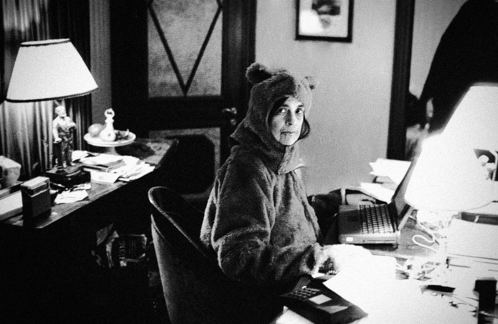 Got A Girl Crush On: Susan Sontag in a bear suit    One word: cheeky!    photo by her partner Annie Leibovitz    (via  bbook :  maitresse )