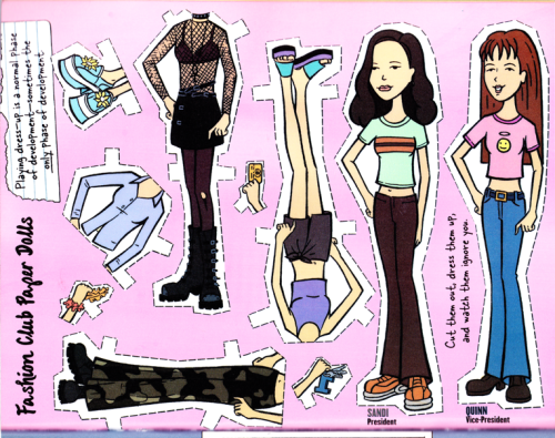 "Got A Girl Crush On:  Quinn and Sandi from  Daria    ""Cut them out, dress them up, and watch them ignore you!""   ( honeyhoneyhoney :  helloannali :  iheartenidcoleslaw )"