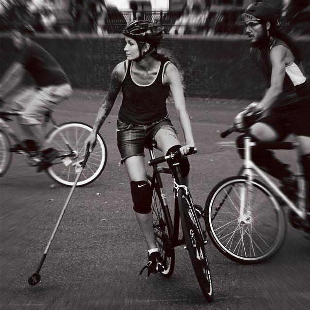 Got A Girl Crush On: Brawny Bike Babes! She's holding her own in bike polo (which is as ballsy as a sport as they come) and lookin pretty poised all the same.  (via lowbrowbrilliant)