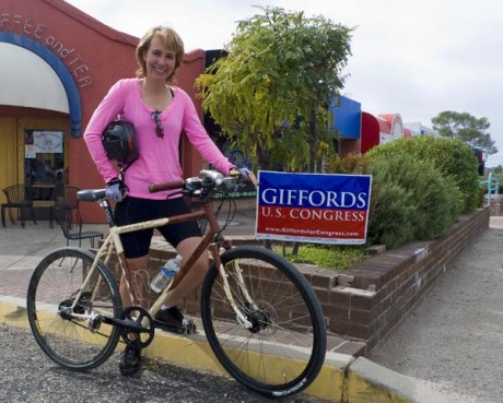 "Got A Girl Crush On : Rep.  Gabrille Giffords    Not only was she the youngest woman (and first Jew) elected to Arizona senate (at age 30), she is also a huge pro-biking advocate. Our thoughts go out to Gabrille and her family in her recovery!!    iaminlikewithmybike :       DC.StreetsBlog post on Rep. Gabrielle Giffords' cycling advocacy.        Giffords herself rides a custom-made bike with her name in western-style rope on the top tube and an Arizona flag. A member of the Congressional Bike Caucus, she bike commutes to the Capitol from her home in Washington.     She admits ""she'll yell at motorists who pull out in front of her or cut her off when she is on her bike and but says most of the time they don't mean to do it, they are in their own world and aren't looking for cyclists"".  ( full article )"
