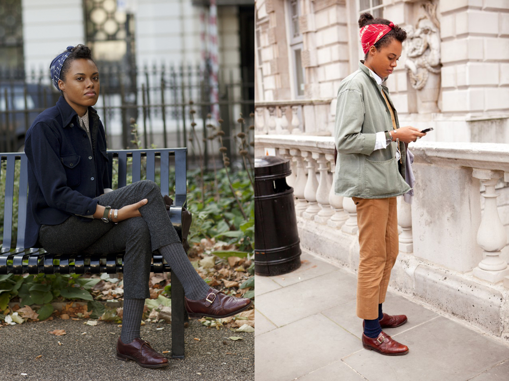 Got a girl crush on: This London Gal About Town    Currently infatuated with this girl after seeing her on  The Sartorialist  and then  The Streethearts . Both outfits are outrageously ace, but my eyes keep going to those golden camel colored cropped pants and that navy CPO shirt jacket. Also a lot of helpful cues on effective layering!