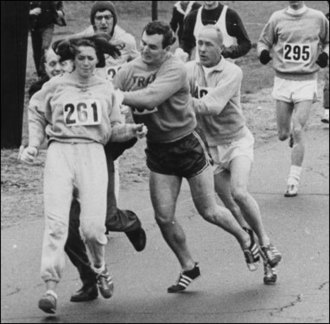 "Got A Girl Crush On:  Katherine Switzer      This is a photo of Katherine Switzer, the first woman to run the Boston Marathon in 1967, five years before women were officially allowed to compete. She signed up as ""K V Switzer.""   That's a race official trying to physically remove her from the course and her boyfriend elbowing the official out of the way (yay for allies!).   Katherine went on to win the 1974 NYC Marathon. So badass.      (copy/pasta'd from SarsDoesntSave on Jezebel)   (via  yokoo :  lebeam :  triangleeyes :  codymariebloomfield :  iloveyousew :  ohashleylove :   biotsavart )"