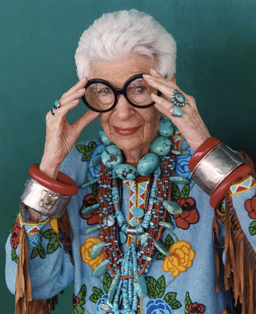 """Got a girl crush on: Iris Apfel    Came across Iris Apfel on  OK Great  today, and lemme tell you–she is one bitchin' granny. She puts the """"granny"""" AND the """"chic"""" in """"granny chic"""". Her wardrobe is absolutely out of this world and is currently on display at the Peabody Essex Museum in Massachusetts:     Rare Bird of Fashion: The Irreverent Iris Apfel  presents more than 80 dramatic ensembles from the personal collections of legendary tastemaker and style icon Iris Apfel. Known for her eclectic mixing of haute couture with costume jewelry and exotic baubles, Apfel has inspired bold developments in the fashion industry through her spirited irreverence and pitch-perfect taste. Now in her 88th year, she continues to challenge visual culture with radical juxtapositions of disparate influences. These spectacular and unexpected wardrobe combinations are exhibited with inventive staging and playful displays that underscore Apfel's inexhaustible creative spirit.     If you're in the area please go on my behalf. Homegirl's also got a  Facebook .   (via  OK Great )"""
