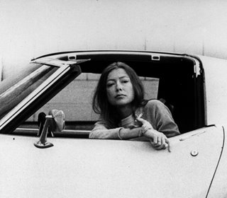 "Got a girl crush on: Joan Didion [Guest Post by Erin!] Joan Didion did some superficially cool things like hang out with the Doors and drink in the afternoons, but that's not why she's crush-worthy. Didion's nonfiction, particularly personal essays from her 20s like those in White Album and Slouching Toward Bethlehem, came to symbolize what only an observer, not a participant, could glean from Southern California in the 60s. Her writing was unemotional and impassionate (she was, first and foremost, a journalist), yet it conveyed a subtly cunning point of view that a reader automatically agrees with, understands and applies to herself. Didion has the inimitable ability to make you reframe everything you thought you understood about yourself. One of her most well-known passages: ""We are well advised to keep on nodding terms with the people we used to be, whether we find them attractive company or not. Otherwise they turn up unannounced and surprise us, come hammering on the mind's door at 4am of a bad night and demand to know who deserted them, who betrayed them, who is going to make amends. We forget all too soon the things we thought we could never forget."""