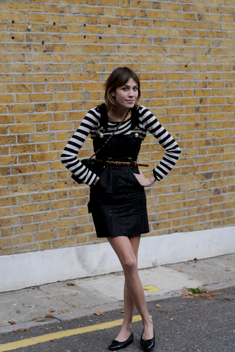 Got a girl crush on: Alexa Chung at London Fashion Week I've got a confession, and it's a secret I've been holding onto for the last few months. Here it goes: I've seen most of the episodes of It's On with Alexa Chung (albeit, Tivo'd and not the entire episode). PHEW! I feel so much better now I've told someone. I know I know, it's a show meant for 12-year-old girls to watch while they eat their afterschool snack, but I can't help it! The girl makes fashion fun and has such an inspiring and accessible style that I tune in purely to see what she's wearing. And OK, maybe to get my pop culture fix as well. And the blogosphere is in love as well because Alexa's been popping up on various street style sites during New York Fashion Week and now London Fashion Week–and she really brings her A-game for her hometown. (Photo via Turned Out)