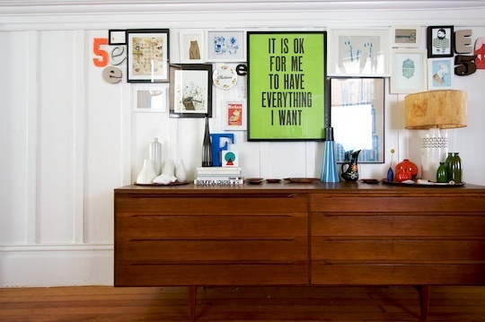 Got a girl crush on: Lisa Congdon    Came across this fabulous house tour from  Apartment Therapy  of  Lisa Congdon 's SF home on  For Me For You  today. I've been a fan of Lisa's work for quite some time now, both for her fantastic  mixed media art  as well as the design shop/art gallery she runs called  Rare Device  (a Mission Distrcit staple).   If the store is any indication of her personal style, then it's no wonder Lisa's home is equally as tasteful. Every nook and cranny is like it's own mini-gallery. She even makes  toilet paper  look like it belongs in the MoMA! A collector of sorts, she has several treasure troves of various globes, pirate ships, vintage photographs, small plastic moose, and succulents.   Click through to view the rest of the photo tour. But warning: it'll make your current living quarters seem like a vacuous shithole.   (via  Apartment Therapy )