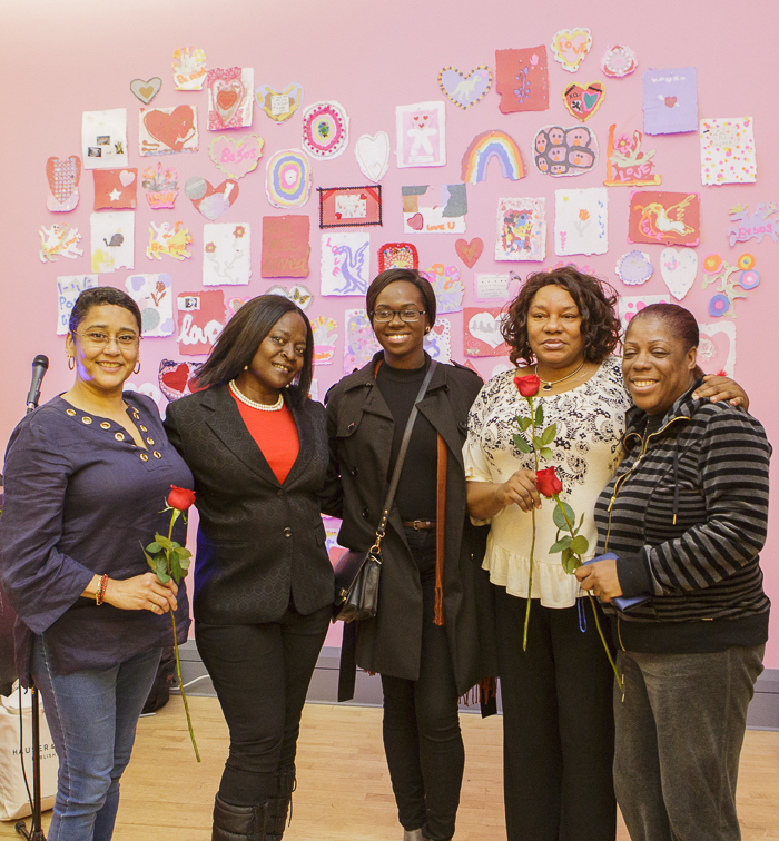 LOVE POSITIVE WOMEN 2017 Pop-up Exhibition: Valerie Reyes-Jimenez, Joyce McDonald, Cindy Krampah, Shirlene Cooper and Lydia Bryant at the Opening Reception. / Photo by Kaz Senju