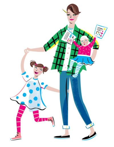 Erin Bried with daughters, Ellie and Bea. Illustration by Libby Vanderploeg