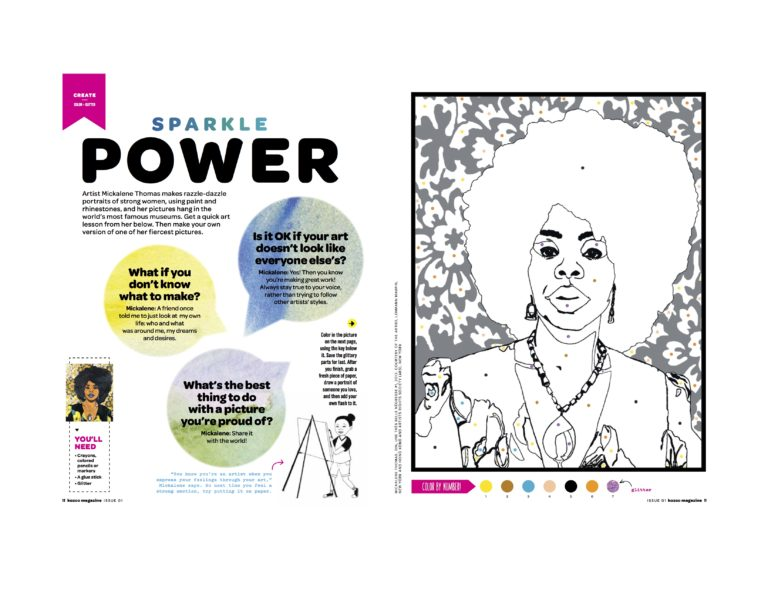 Artist Mickalene Thomas gave us an interview and allowed us to adapt one of her works into a color-by-dot.
