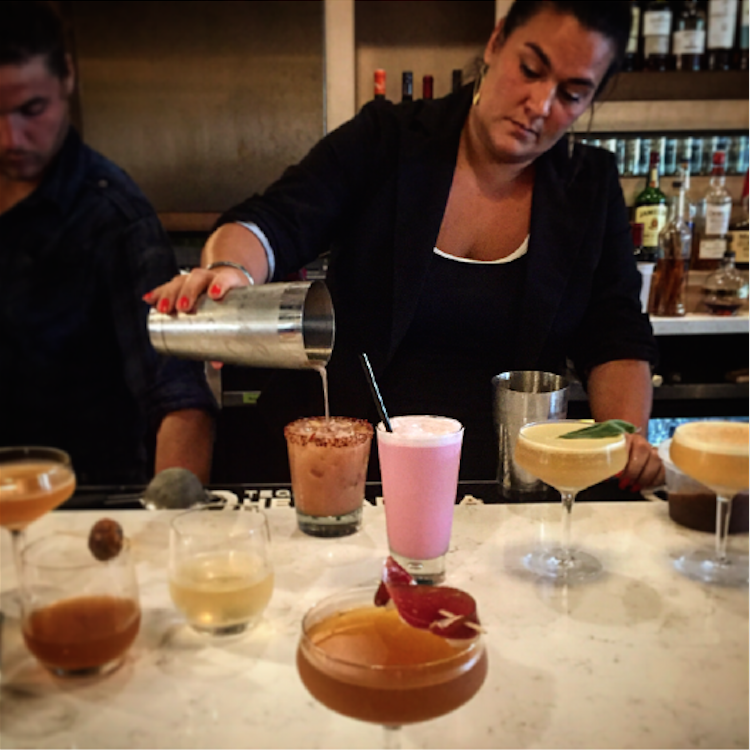 Our Mixologist, Deanna, testing out new craft cocktails
