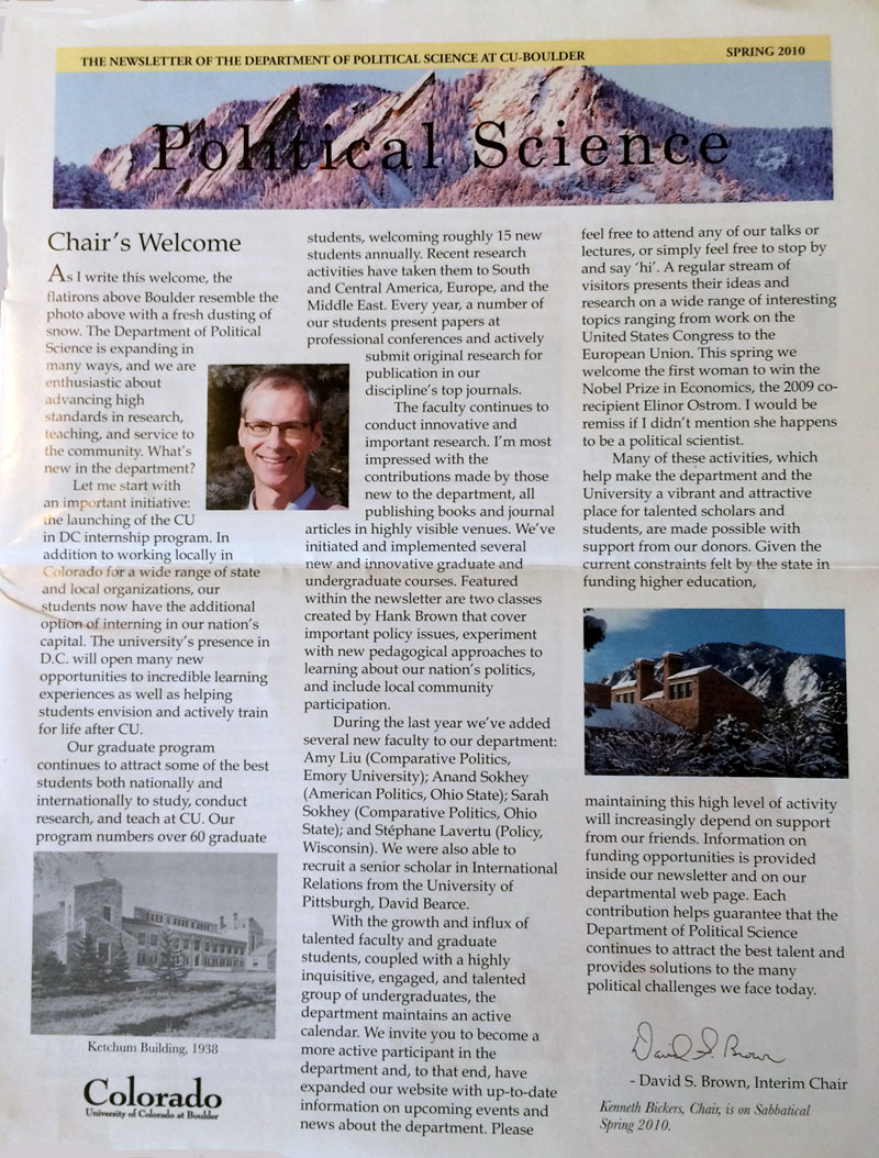 The Political Science Newsletter is a publication of the University of Colorado, Boulder.  I wrote for the publication for the department.  Click here to download a PDF.